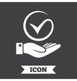 Tick and hand sign Palm holds check mark symbol vector image