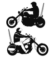 Biker on motorcycle travels - silhouette in black vector image