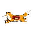 comic cartoon fox with mouse in belly vector image