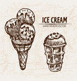 digital detailed line art ice cream balls vector image
