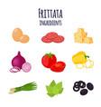 frittata ingredients set for italian omelet vector image