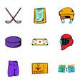 Hockey game icons set cartoon style vector image