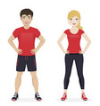 man and woman playing sport with red sportswear vector image