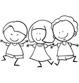 multicultural children coloring page vector image