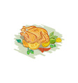 Roast Chicken Vegetables Drawing vector image