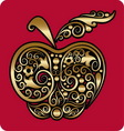 Golden apple ornament vector image