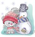 cute kitten and snowman vector image