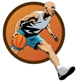 Professional Basketball Player dribbling in jump vector image