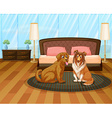 A house with two dogs vector image vector image