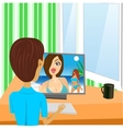 young boy looking at girl vector image
