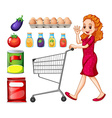 Lady doing grocery shopping vector image vector image