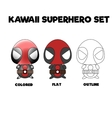 Kawaii superhero set vector image