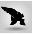 Winged helmet silhouette vector image vector image