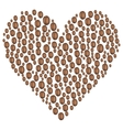 coffee beans in the shape of heart vector image