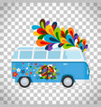 hippie bus on transparent background vector image