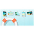 sea postcards displayed on colorful background vector image