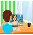young boy looking at girl vector image