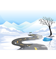 A long road at the snowy place going to the vector image vector image
