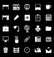 workspace icons on black background vector image