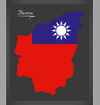 Nantou taiwan map with taiwanese national flag vector image