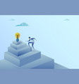 business man climbing stairs to light bulb new vector image