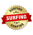 surfing 3d gold badge with red ribbon vector image