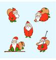 cartoon christmas set cartoon santa claus vector image