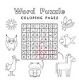 funny animals coloring book word puzzle vector image