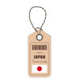 hang tag made in japan with flag icon isolated on vector image