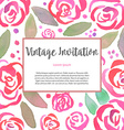 Invitarion card with watercolor vintage roses vector image