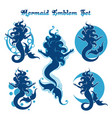 mermaid emblem set vector image