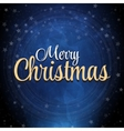 Merry Christmas blue background with snow and vector image