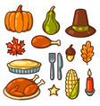 set of happy thanksgiving day holiday objects and vector image