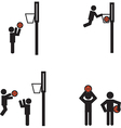 Stick man basketball vector image
