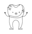 tooth with dental crown cartoon in monochrome vector image