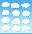 cloud icons with blue background vector image vector image