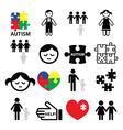 Autism awareness puzzles autistic children icons vector image