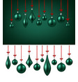 background with green christmas balls vector image