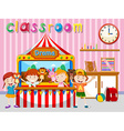 Children playing puppet on stage vector image