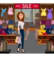 Fashionable woman shopping a big sale vector image
