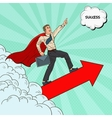 Pop Art Hero Super Businessman Flying vector image
