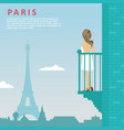 woman stands on balcony in paris vector image