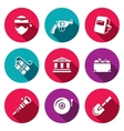Set of Bank Robbery Icons Thief Weapon vector image