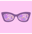 Glamour sunglasses with flowers reflection vector image