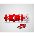 New Year 2013 card made from red and white puzzle vector image vector image