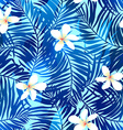 Tropical palms seamless pattern in blue with vector image vector image