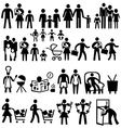 Family icons people silhouettes set vector image vector image