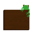 Green tree frog sitting on wood background vector image vector image