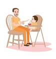 dad father give food to his little boy baby have vector image