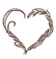 ears of wheat hand-drawn in the shape of heart vector image